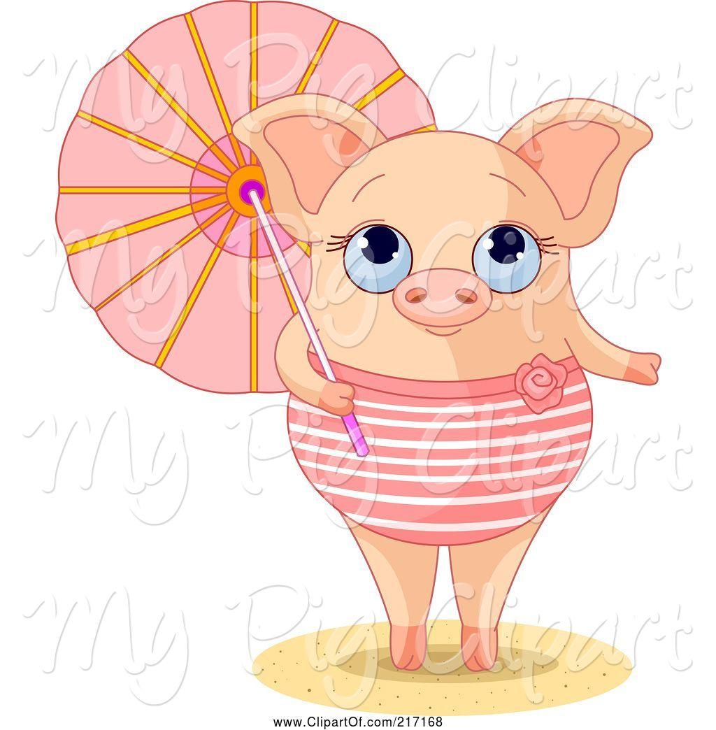 Pig clipart summer. Swine of cute piglet
