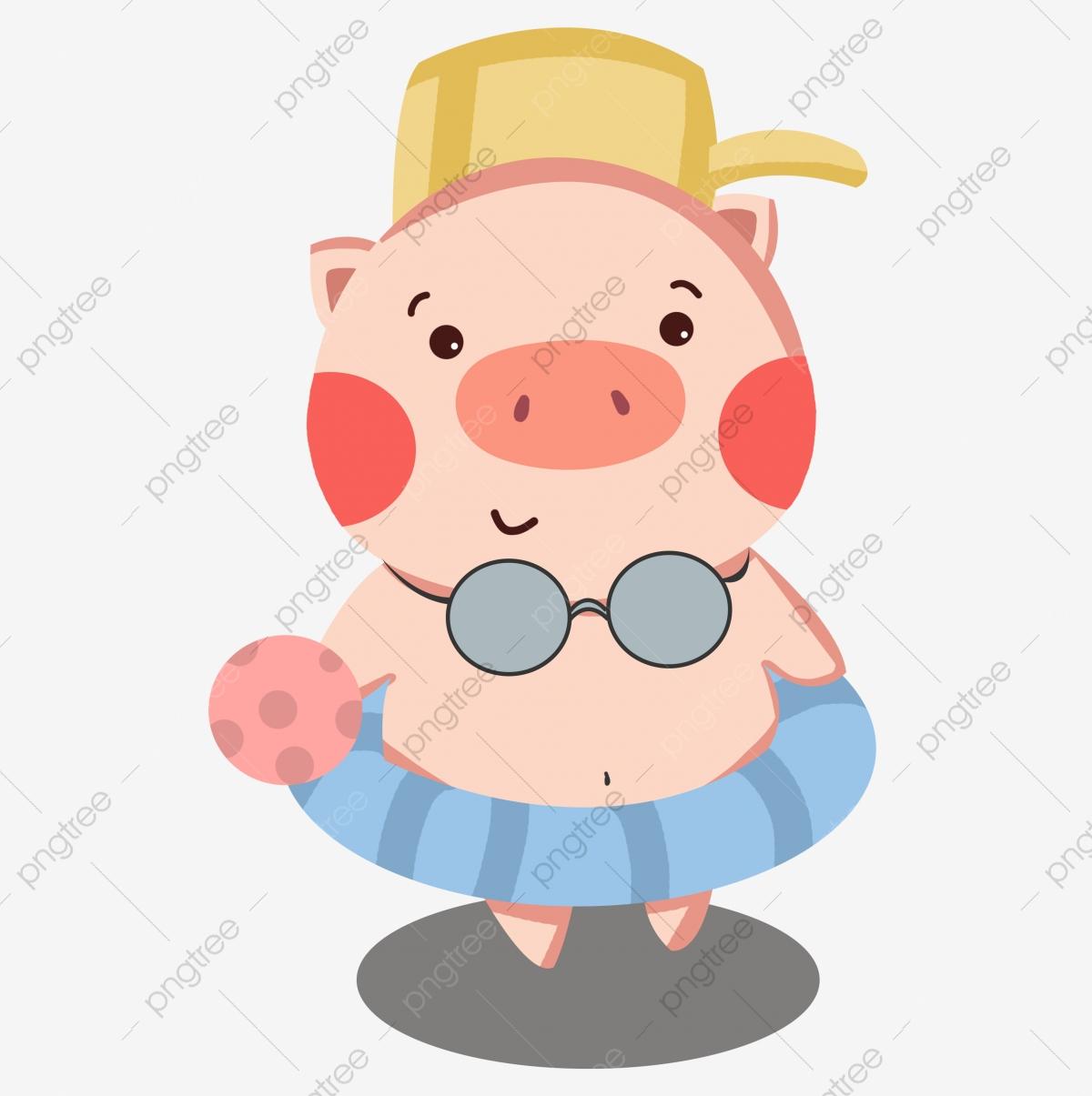 Cartoon hand drawn year. Pig clipart swimming