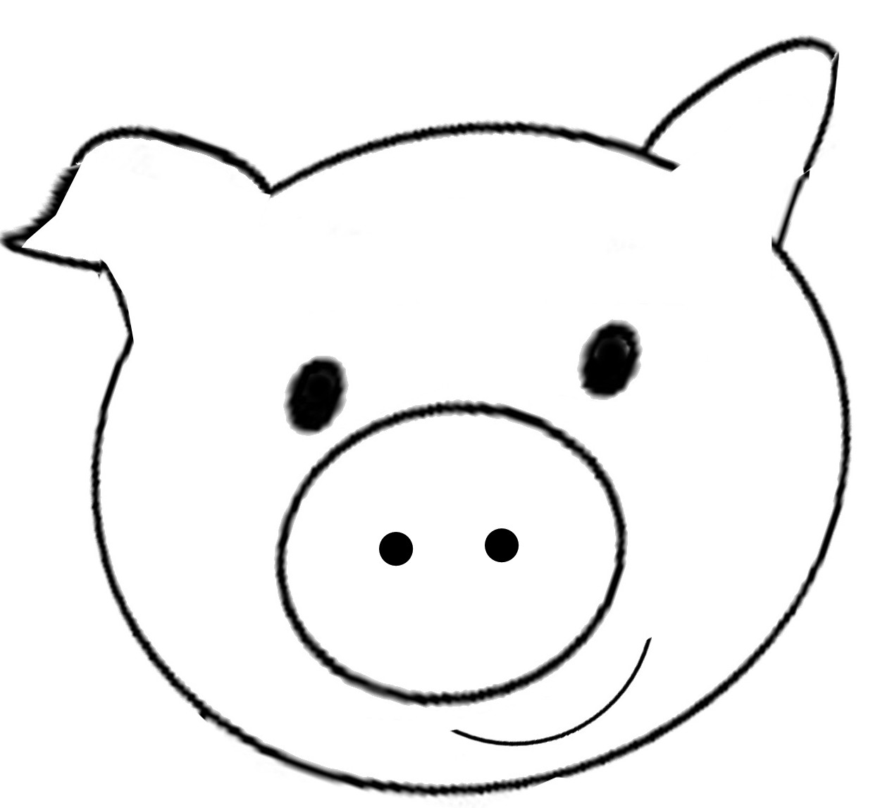 Pig black and white. Pigs clipart template