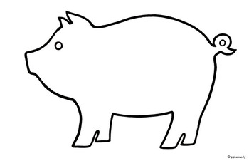 Pigs clipart template. Pig black and white