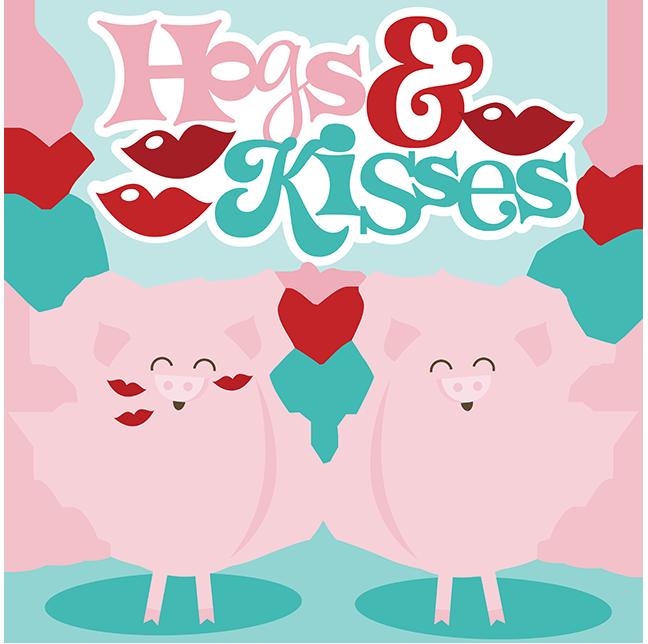 Hogs kisses svg scrapbook. Kiss clipart pig