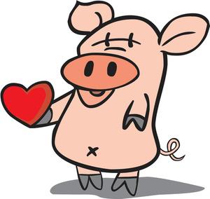 Free image valentine . Clipart pig valentines
