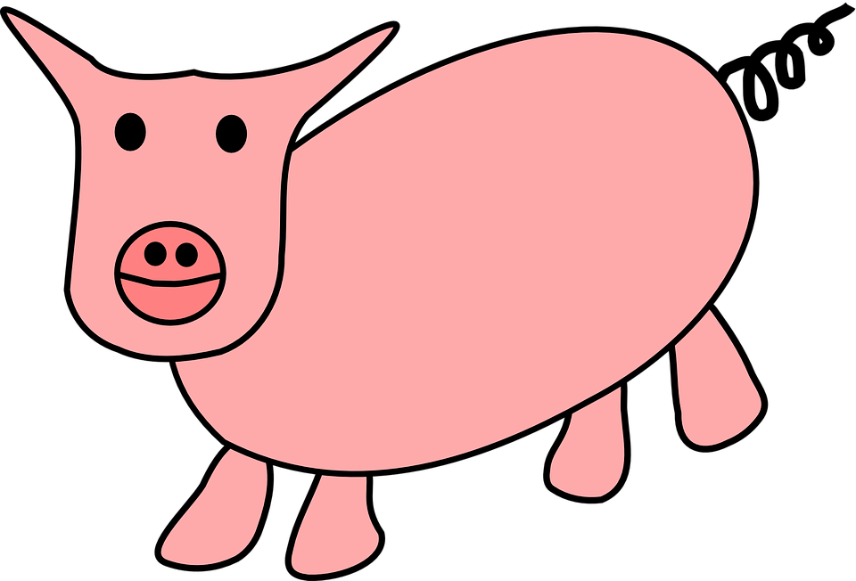 Collection of animated pigs. Pig clipart line art