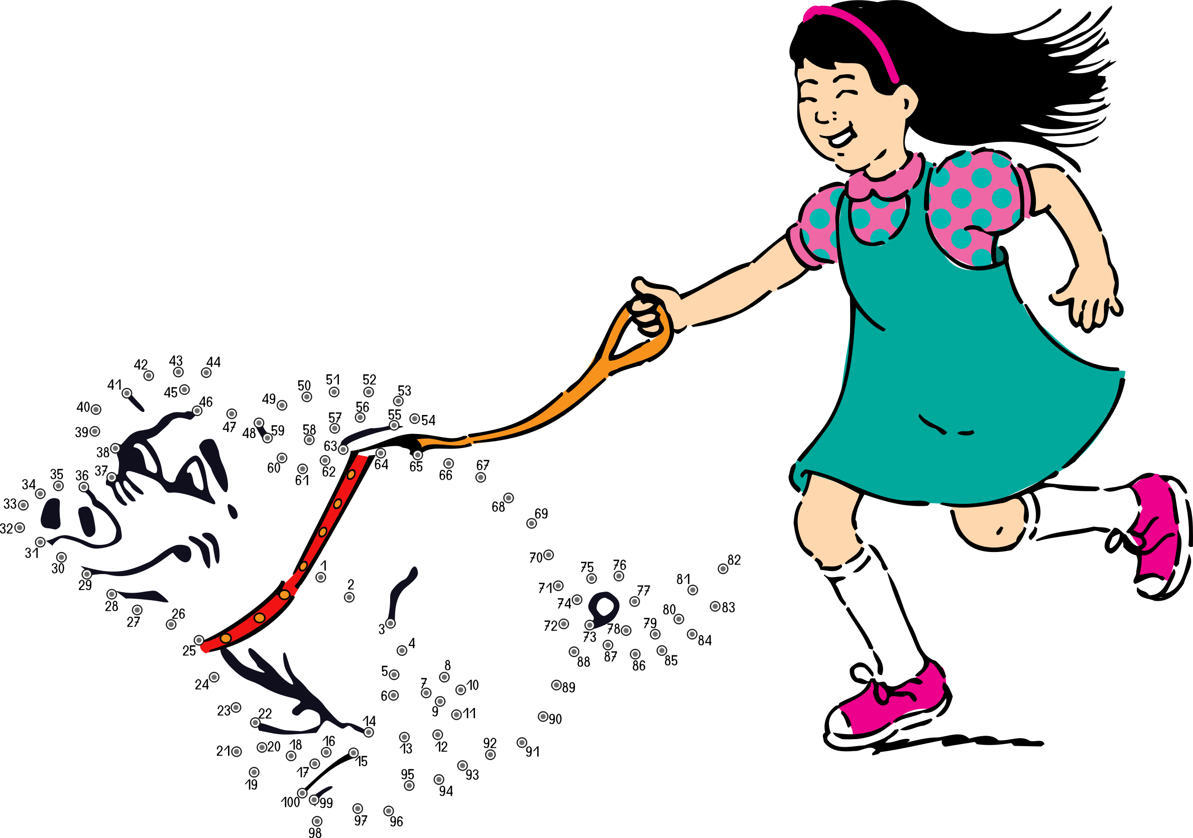 Connect the dots what. Clipart walking lined up