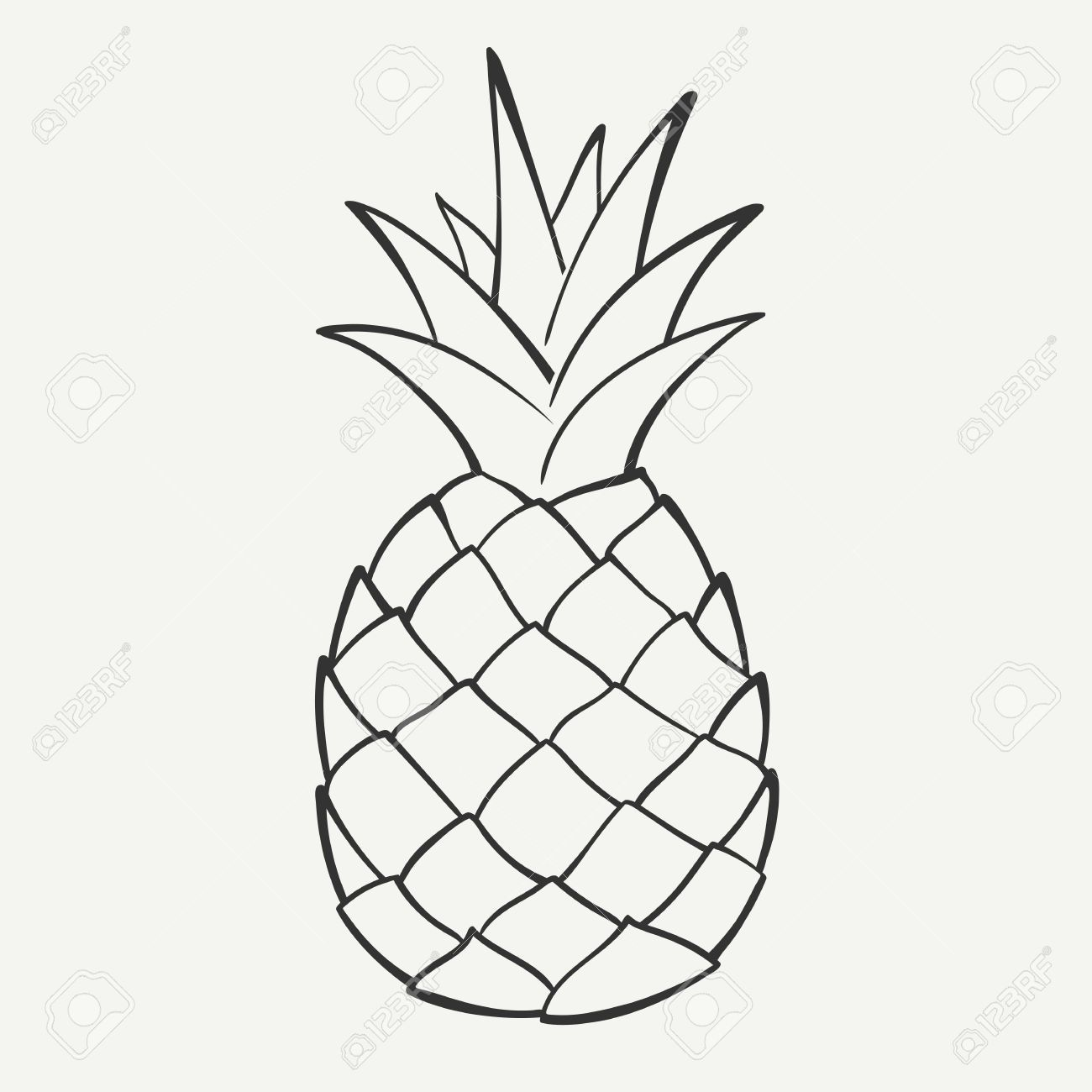 Pineapple clipart drawn. Outline black and white