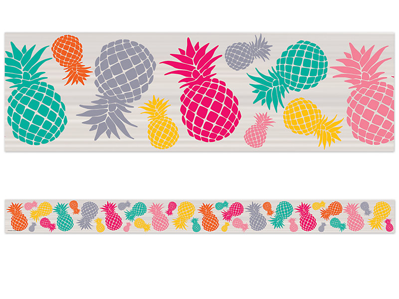 Tropical punch border . Pineapple clipart borders