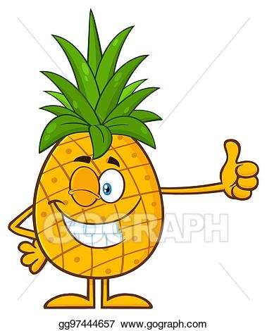 Clip art vector winking. Pineapple clipart character