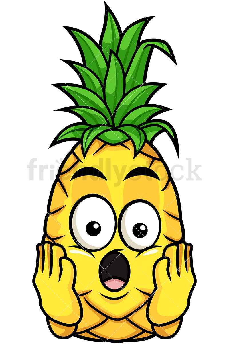 Pineapple clipart character. Shocked fruit cartoon clip