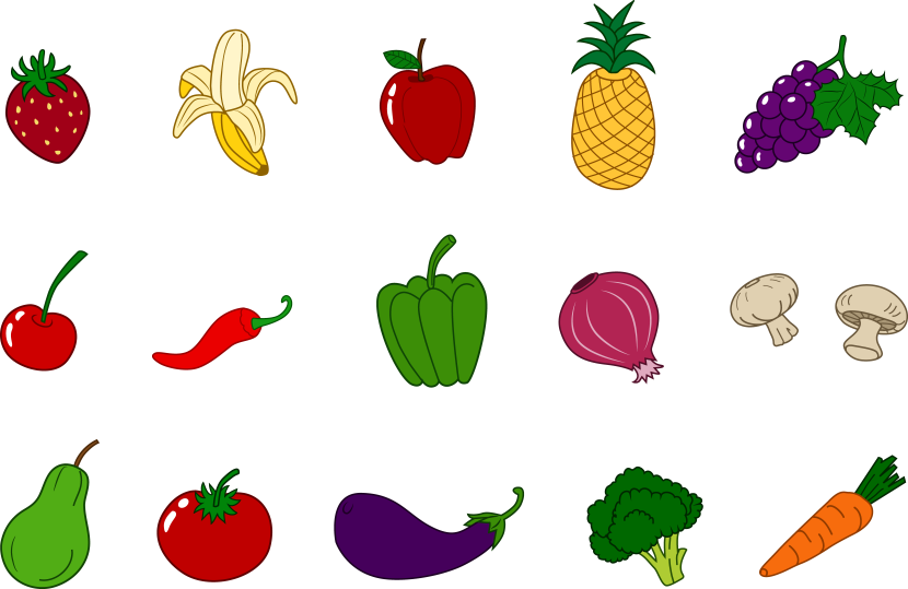 Idea vegetables fruits set. Pineapple clipart classy