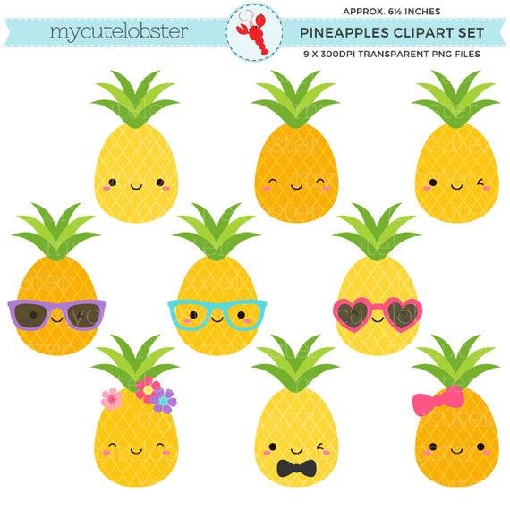 Clipart pineapple cute. Pineapples set clip art