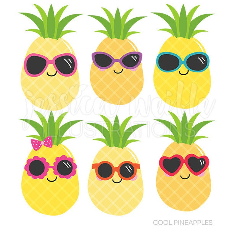 Pineapple clipart cute. Cool pineapples digital commercial