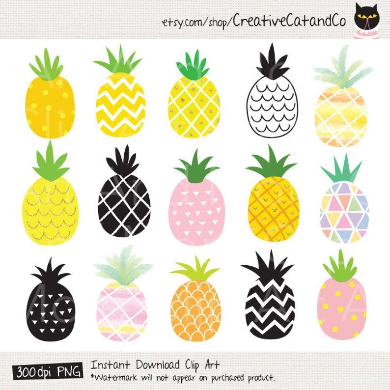 Clipart pineapple cute. Clip art gold watercolor