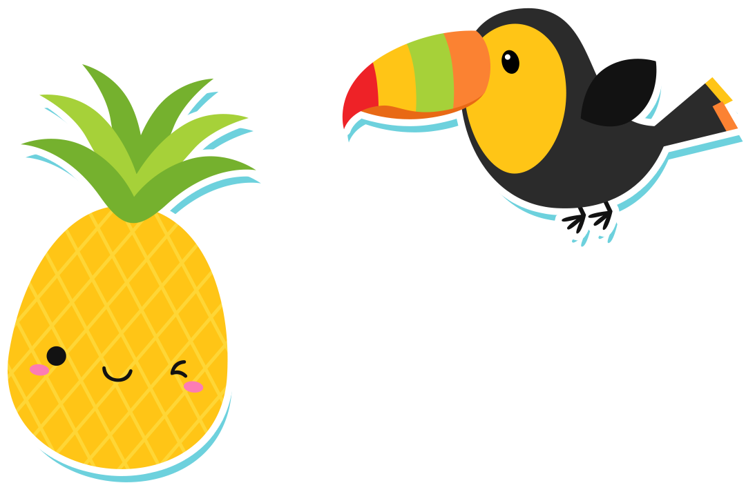 Letters format. Pineapple clipart cute