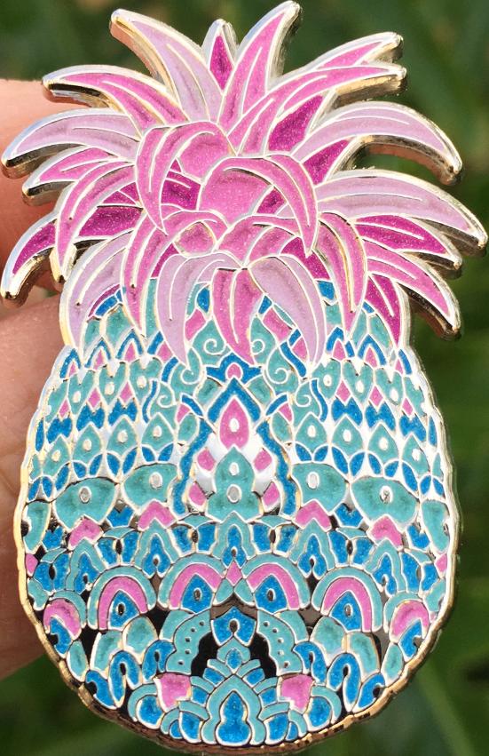 Bubblegum pin open edition. Pineapple clipart teal