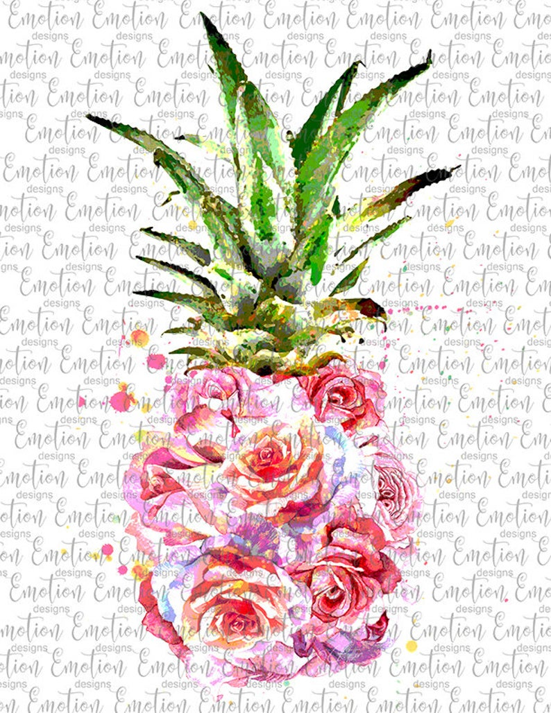 Clipart pineapple floral. Watercolor png instant download
