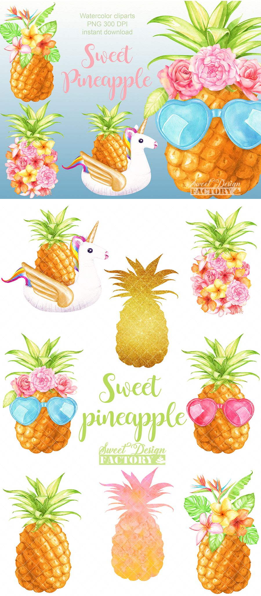 Summer watercolor . Pineapple clipart flower