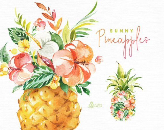 Sunny pineapples watercolor vase. Clipart pineapple floral