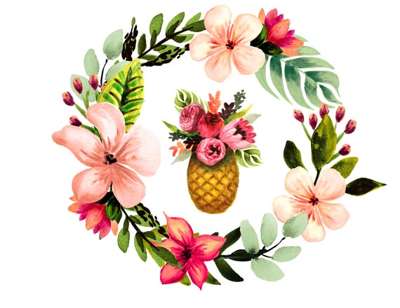 Tropical watercolor beach summer. Clipart pineapple floral