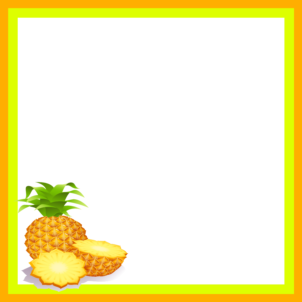 Pineapple clipart frame. Mq orange ananas fruit