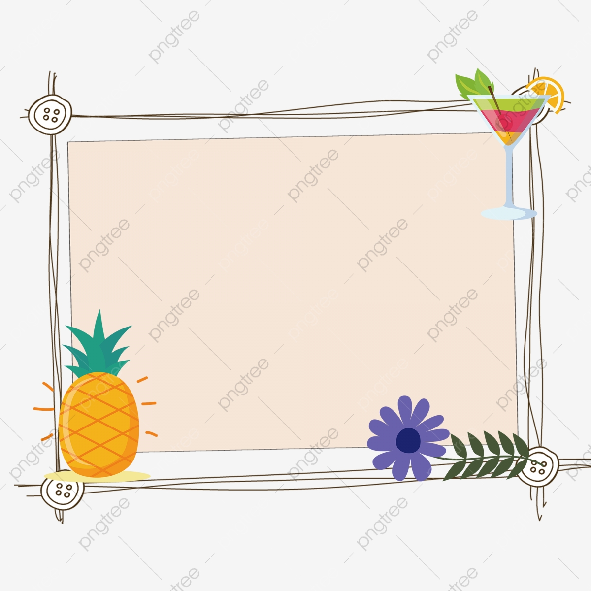 Beautiful border bunting . Pineapple clipart frame