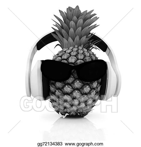 With sun and headphones. Pineapple clipart glass