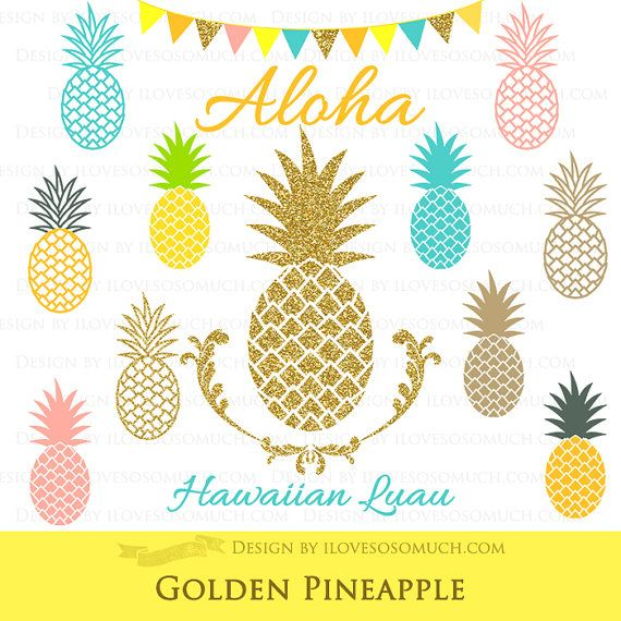 Golden hawaiian party by. Pineapple clipart gold glitter