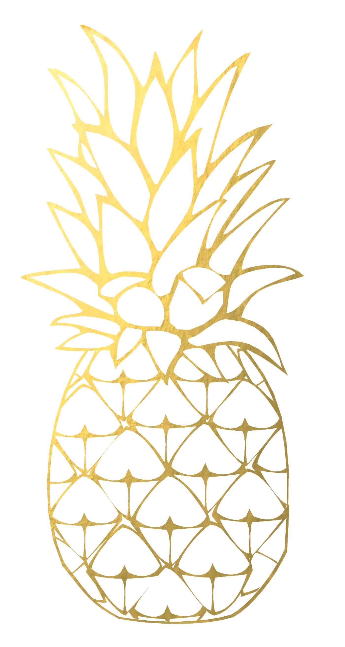 Pineapple clipart gold pineapple. Kawaii designs hawaii cupcake