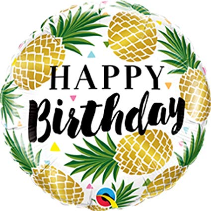 Qualatex golden foil balloon. Pineapple clipart happy birthday