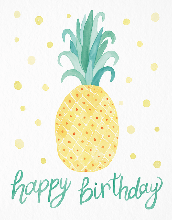 Free cards . Pineapple clipart happy birthday