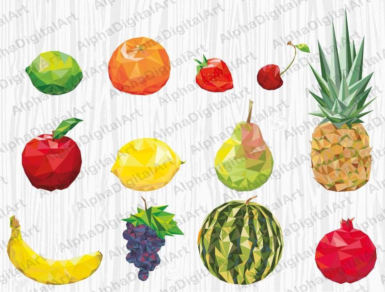 geometric fruits apple. Clipart pineapple high quality