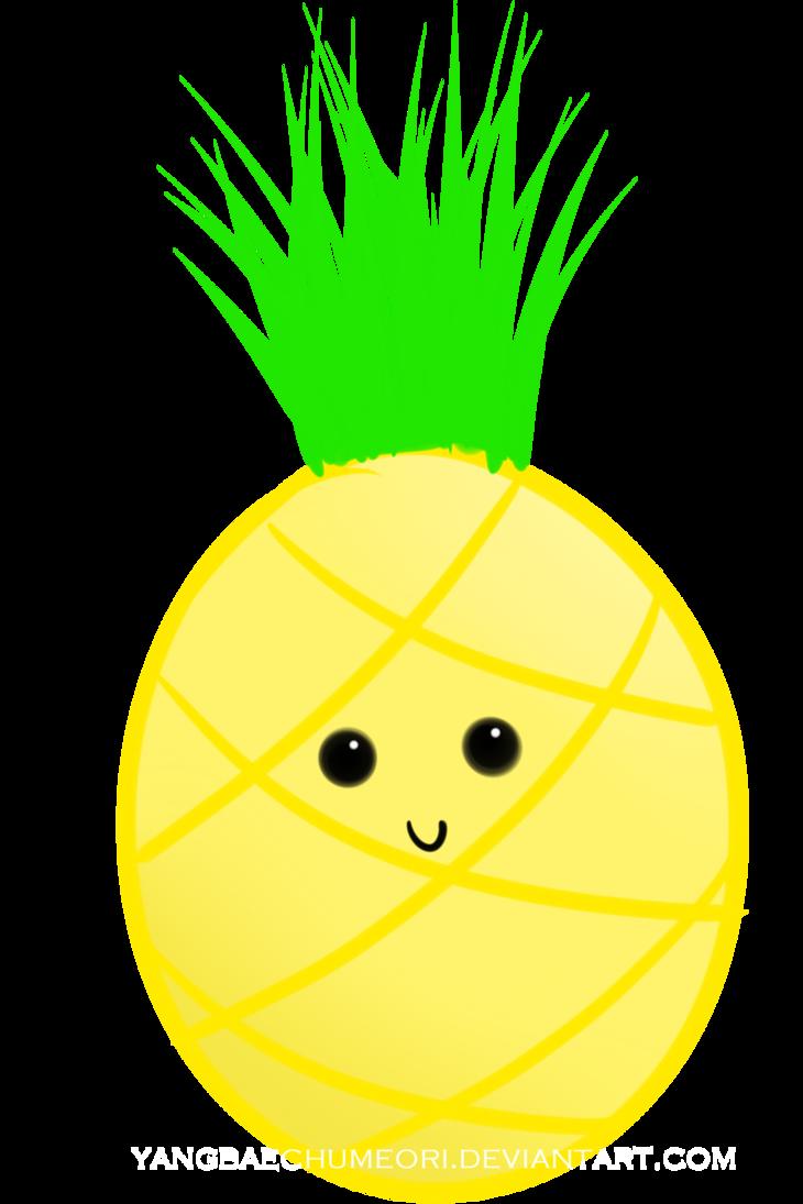 By yangbaechumeori on deviantart. Pineapple clipart kawaii
