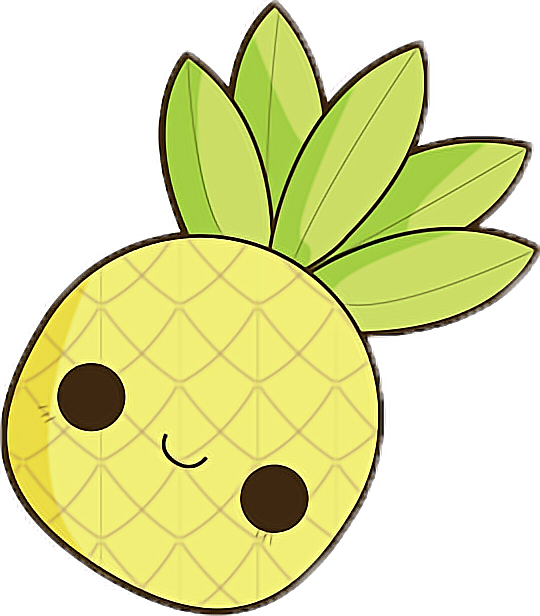 Yellow . Pineapple clipart kawaii