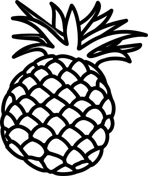 Clip art outline papier. Pineapple clipart black and white