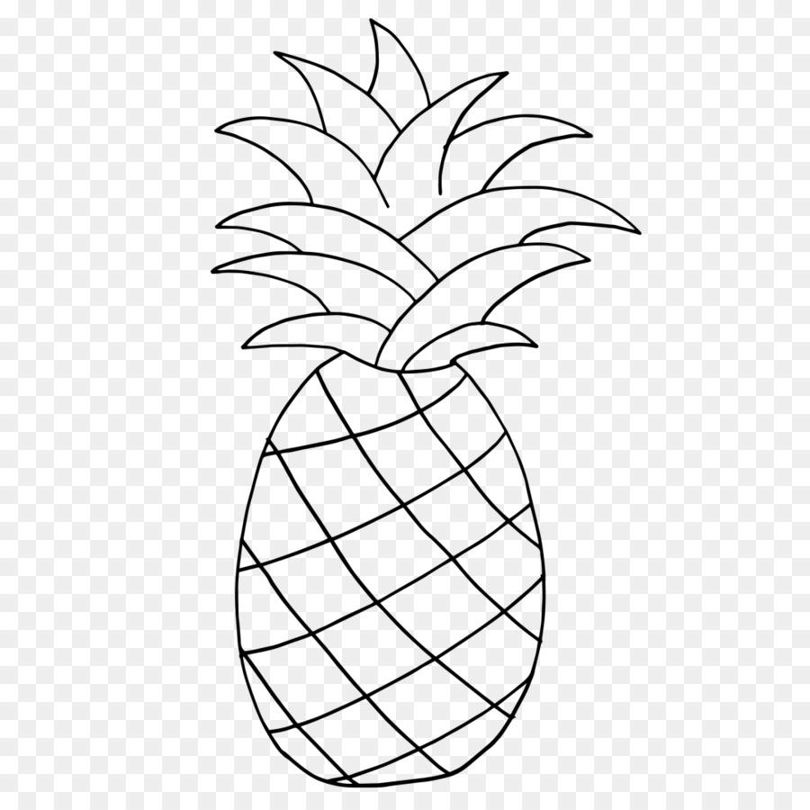 Pineapple clipart line art. Black and white flower