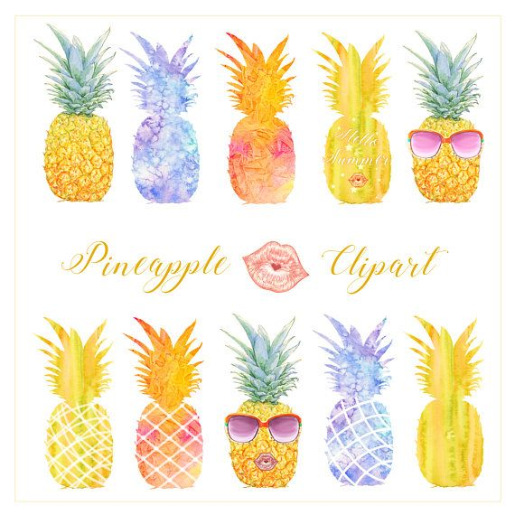 Clipart pineapple modern. Summer watercolor tropical fruit