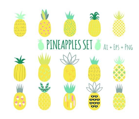 Pineapple clipart modern. Pineapples set pine vector