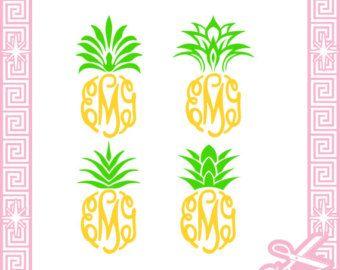 Top frame cut files. Clipart pineapple monogram