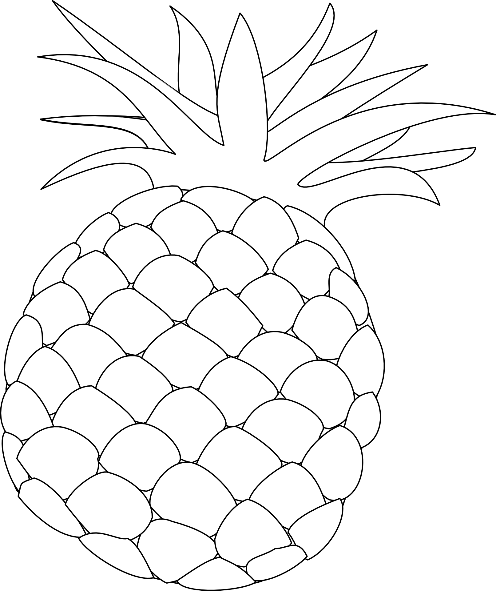 Clipart pineapple outline. Drawing of a fruit