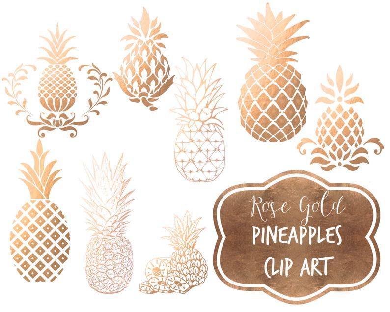 Rose foil pineapples digital. Pineapple clipart gold pineapple