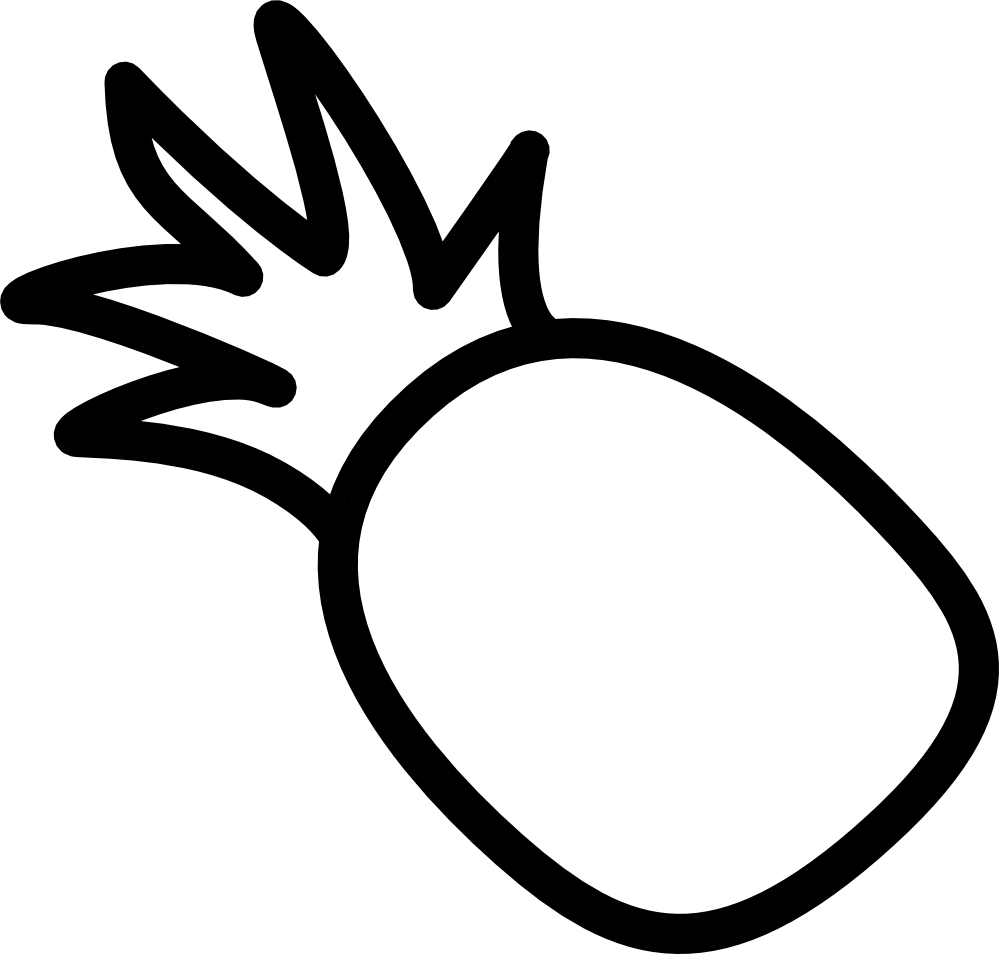 collection of pineapple. Pear clipart black and white