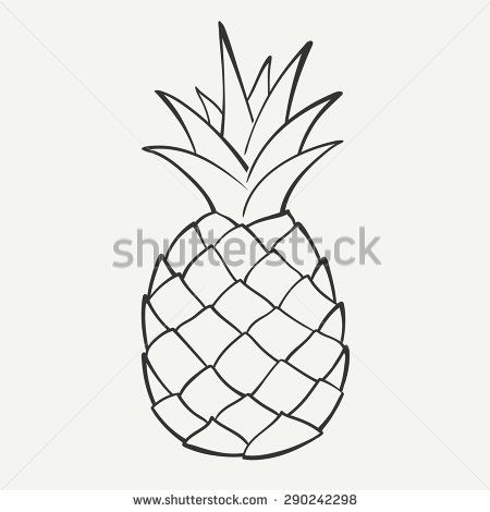 Clipart pineapple sketch. Outline black and white