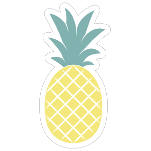Pineapple clipart sticker. Simple