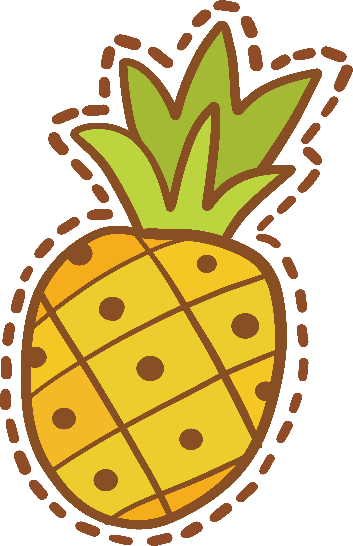 Pineapple clipart sticker. Cartoon design transprent