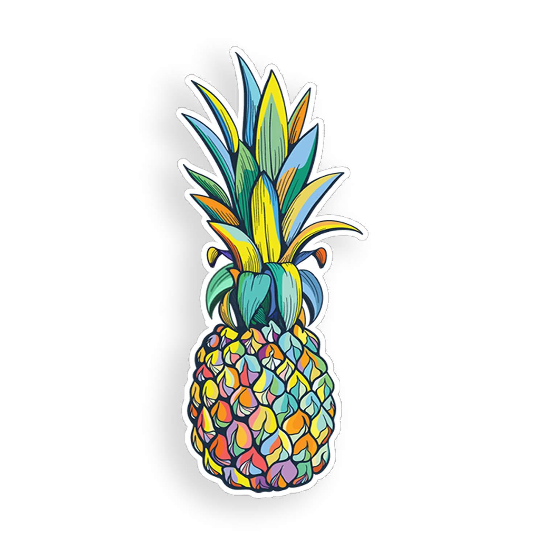 Colorful multi color car. Clipart pineapple sticker