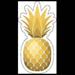 Shiny golden . Pineapple clipart sticker