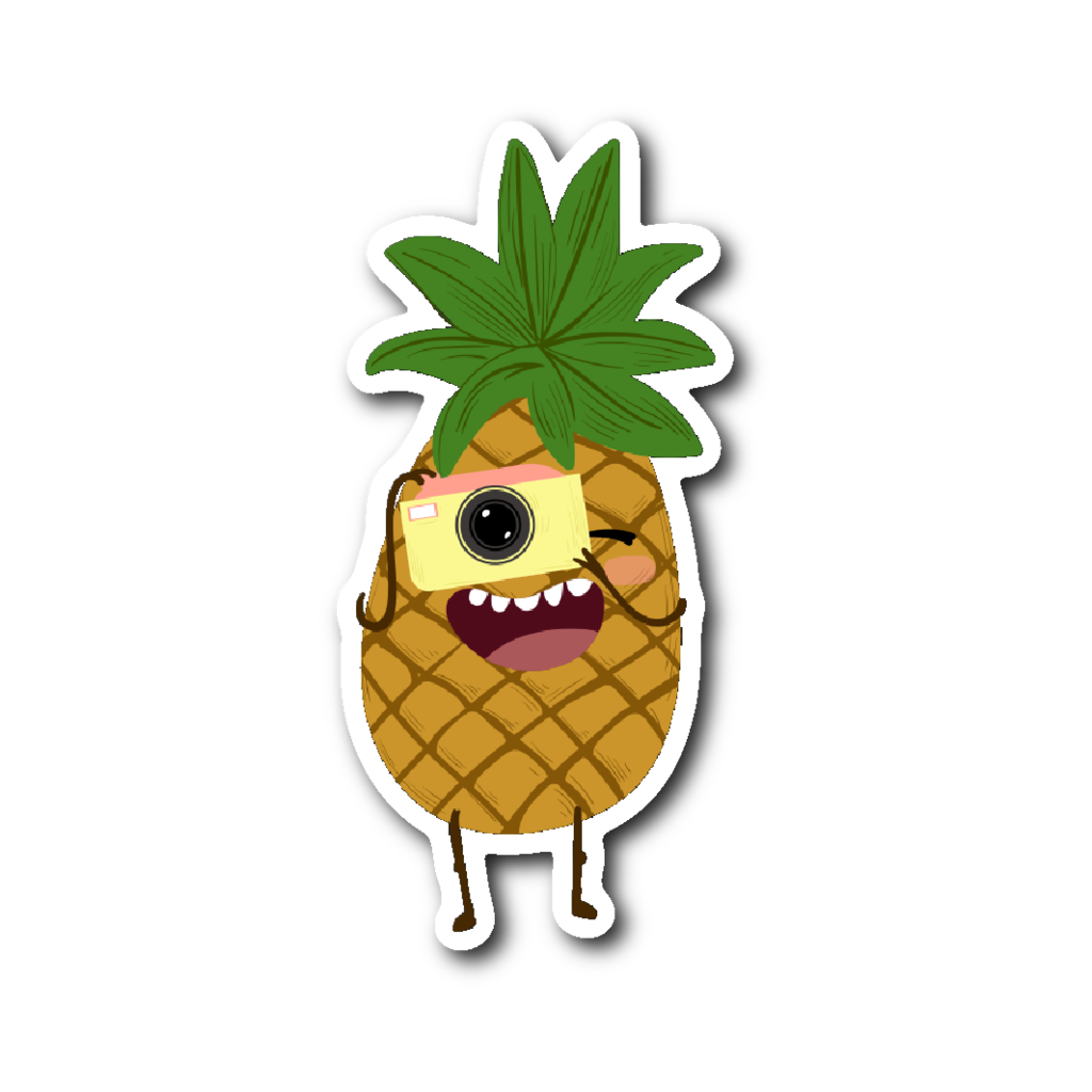 Clipart pineapple sticker. Cute fruits snapping a
