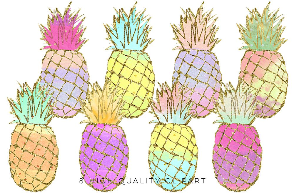 Clipart pineapple summer. Clip art gold pineapples
