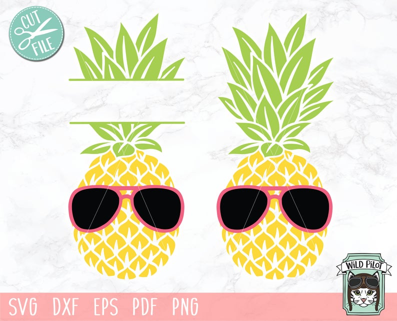 Svg file monogram stencil. Clipart pineapple sunglasses
