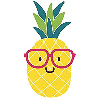 Clipart pineapple sunglasses. Adorable nerdy summer emoji