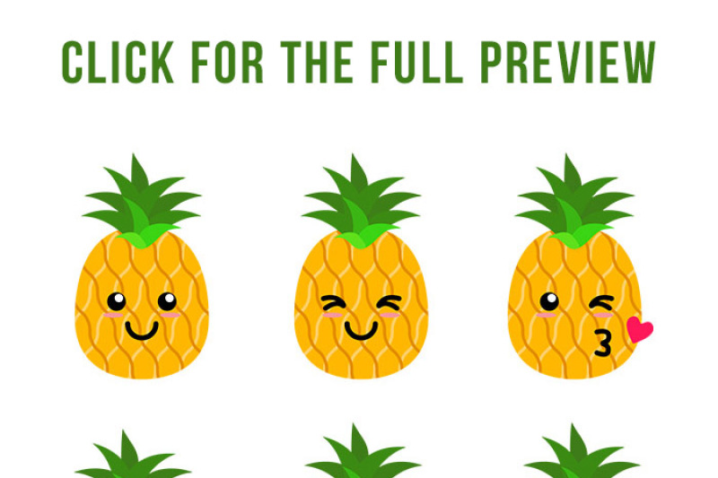 pineapples svg tropical. Pineapple clipart cute